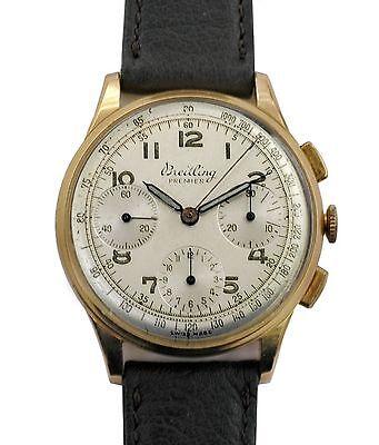 Vintage 1945 Breitling Premier 18k Rose Gold Reference 787 Chronograph Venus152