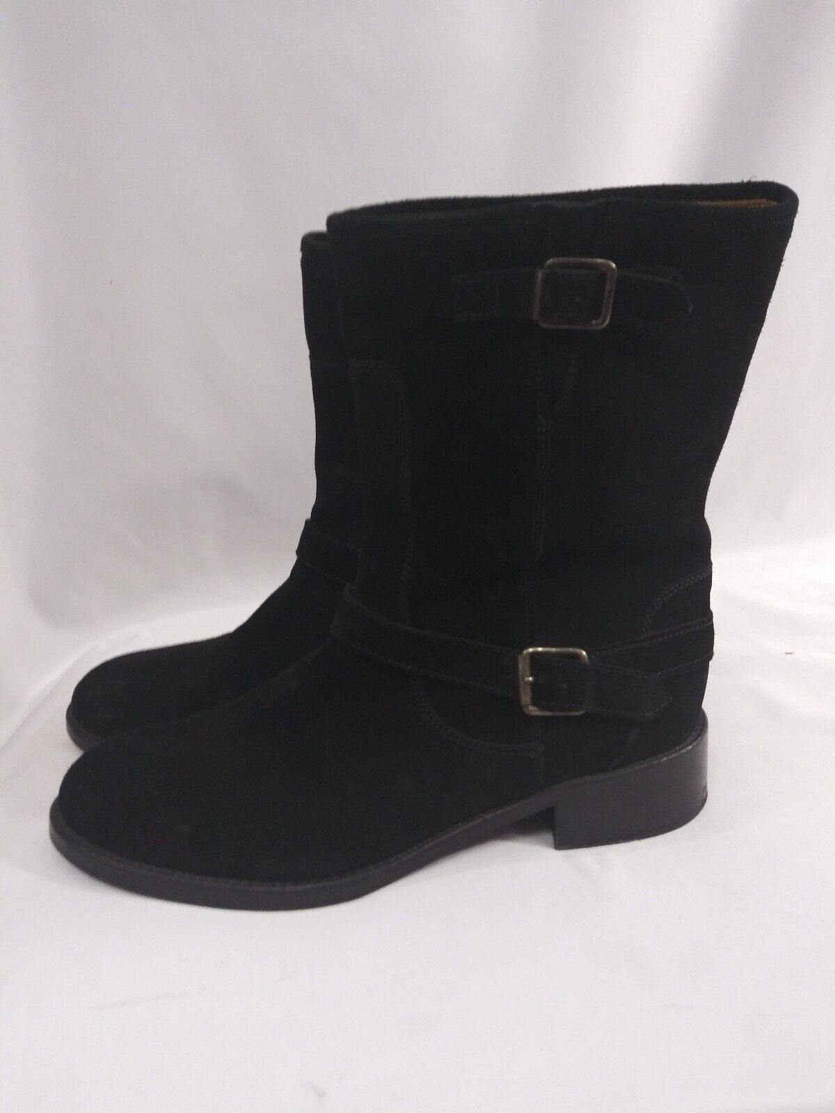 10022-schuhe Saks Fifth Avenue  Suede Leather Buckle Stiefel  39.5