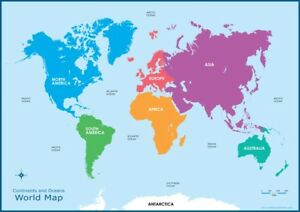 A3 Map of the World Continents & Oceans -Educational Wall Chart ...