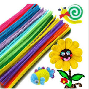 100PCS/Lot Chenille Sticks Stems Pipe Cleaners Assorted Colours Kids Bulk Craft