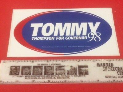 Original Tommy Thompson For Governor Wisconsin Political Car Bumper Sticker RARE