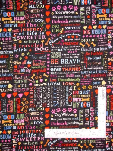 "Dog Words Phrase Black Cotton Fabric Blank Textiles 43/""W Faithful Friend By Yard"