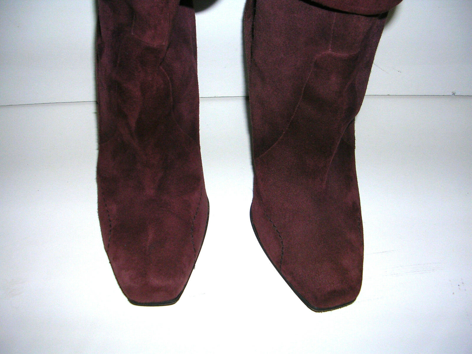 COSTUME NATIONAL BROWN SUEDE KNEE DOWN HIGH ROLL DOWN KNEE HIGH HEEL Stiefel SIZE 7 e34284