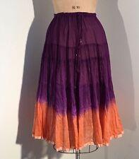 Vintage 1970s/70s Adini India Tie Dye Sheer Gauze Cotton Skirt Hippy Boho