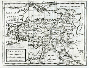 c.1730 Genuine Antique map of Turkey in Asia, Asia Minor. Herman Moll
