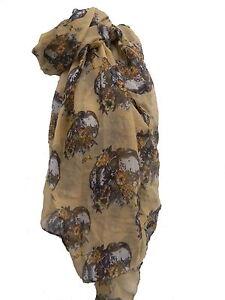 Skull Scarf Skull Floral Golden Beige Large Unisex Skull Scarf Skull Scarf