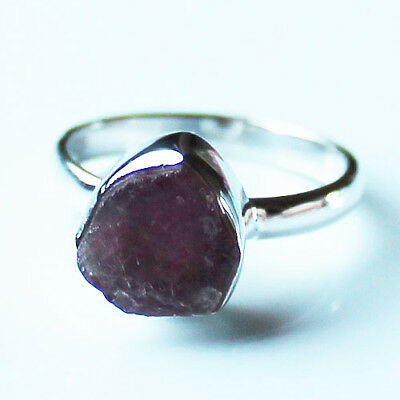 100% 925 Solid Sterling Silver Pink Ruby Rough Stone Ring - Size 9