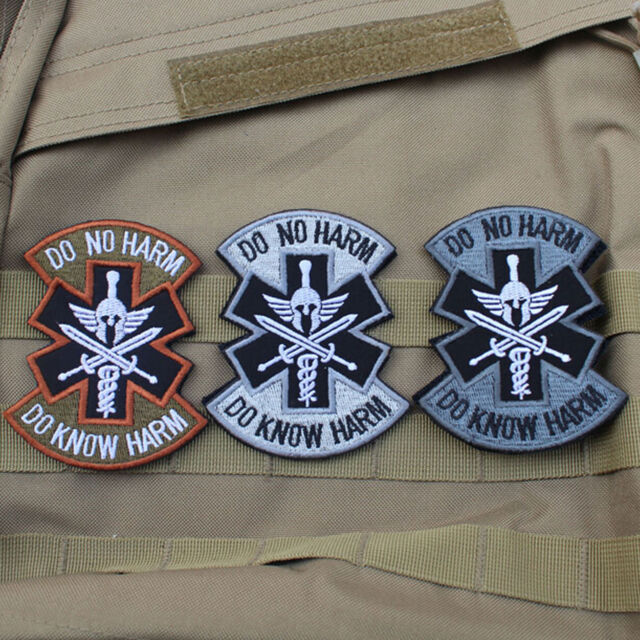 3 Pcs Do Know No Harm Spartan Combat Medic Med Hook 3d Patch Morale Badge