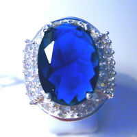 Gorgeous Blue /white Topaz Ring Uk Size r Us 9