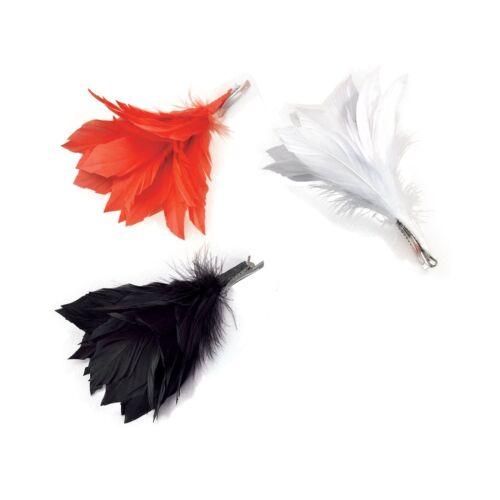 BURLESQUE BLACK FEATHER HAIR CLIP Womens Ladies Fancy Dress Costume Accessory