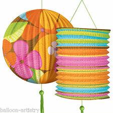 Tropical Tiki Flowers Hanging Paper Lantern Summer Party Decoration Set Pack