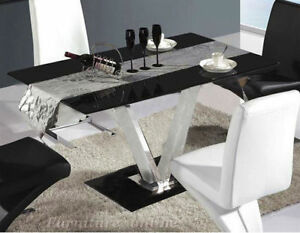 Image Is Loading High Gloss Glass Dining Table And 4 Leather
