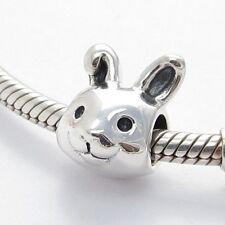 FUNNY BUNNY RABBIT CHARM Bead Sterling Silver.925 For European Bracelet 646