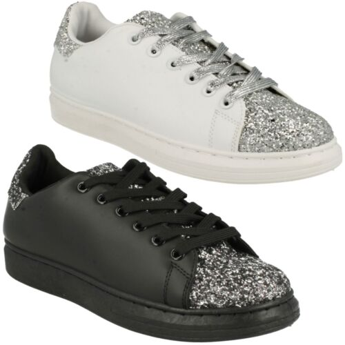 LADIES WOMENS SPOT ON LACE UP BLACK WHITE GLITTER TRAINERS PUMPS SHOES F80191