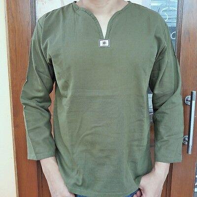 Men/'s Summer T-Shirt 100/% Cotton Thai Hippie Shirt Beach Yoga Top Green V-Neck M