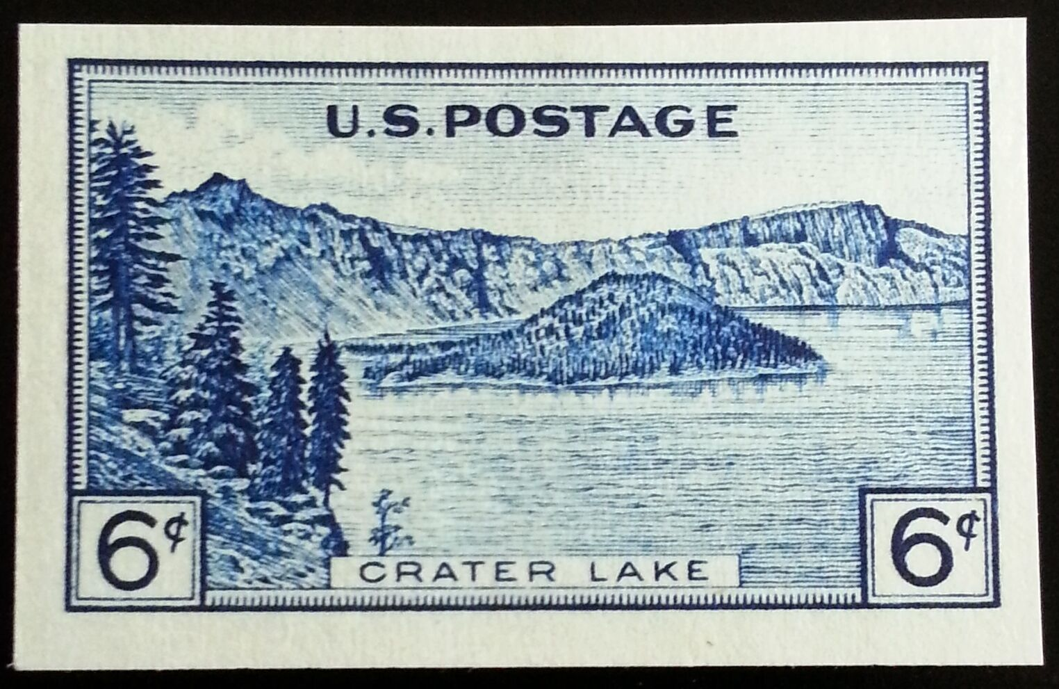 1935 6c Crater Lake, Imperforate Single issued without