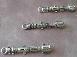 4 x Tibetan Silver SONIC SCREWDRIVER DR WHO 3D 39mm Charms Pendants Beads