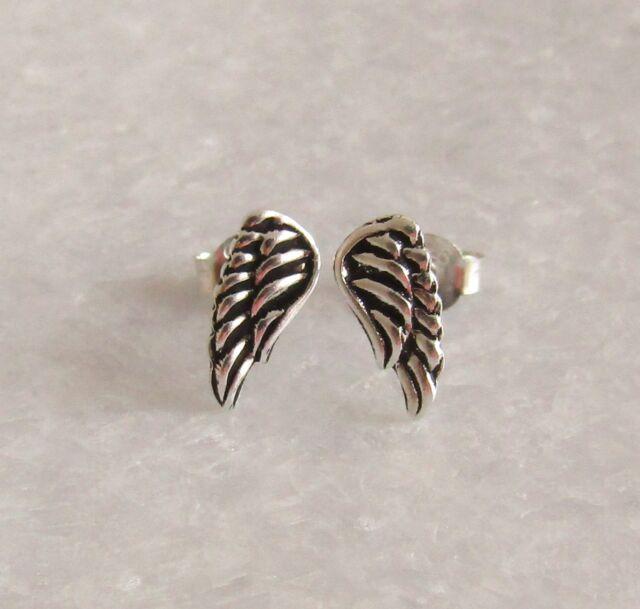 925 Sterling Silver Small Angel Wing Ear Studs Earrings