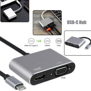 USB 3.1 Type C To VGA Multiport Adapter USB C To HDMI 4K UHD Converter Port HUB