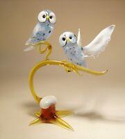 Blown Glass murano Art Figurine Bird White Polar Owl Birds On A Branch