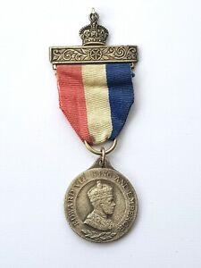 Vintage-RARE-King-Edward-VIII-Silver-Struck-Medal-Miniature-With-Ribbon-c1937