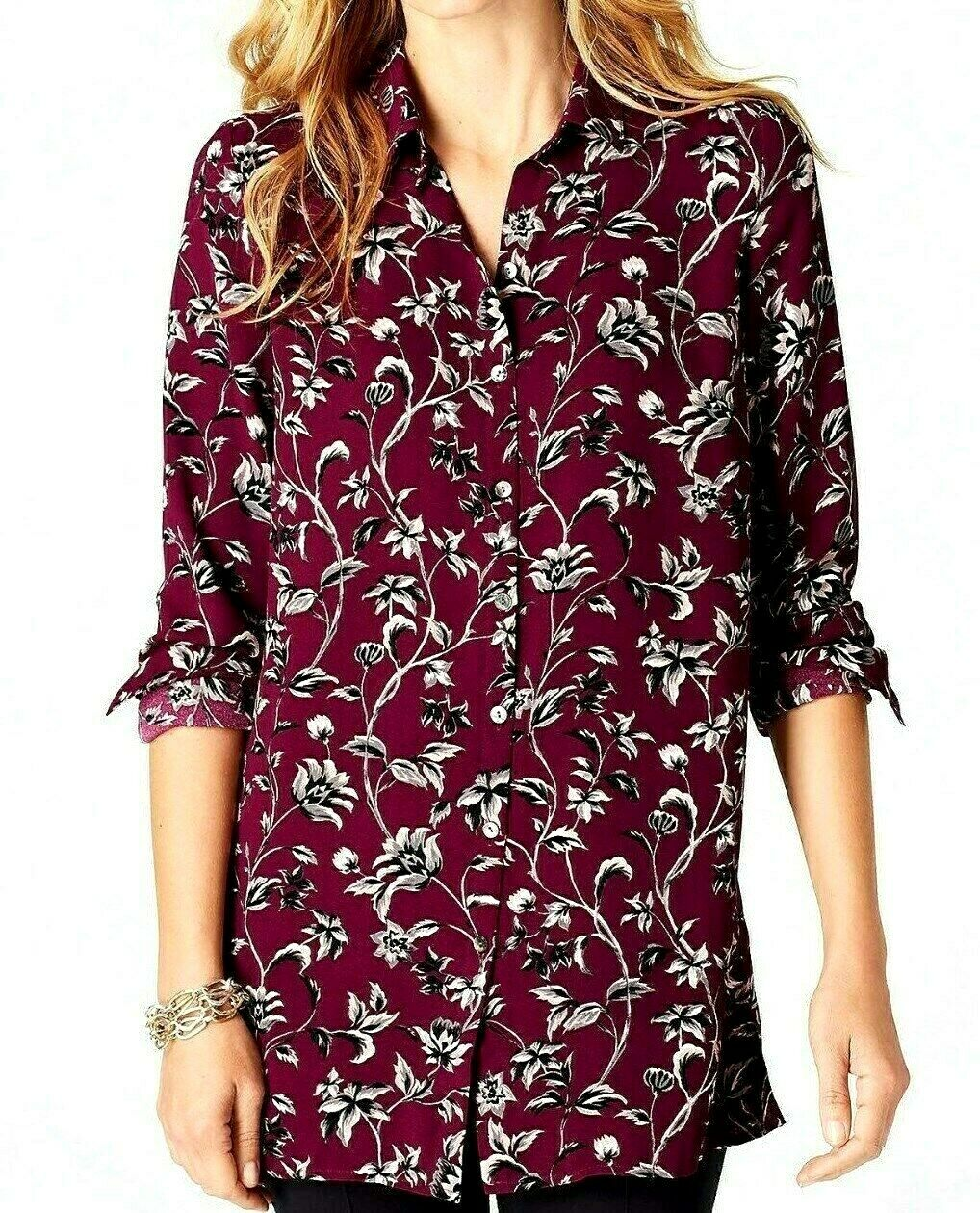 J Jill Top XL Burgundy Red Floral Blouse Shirt Geblackus Relaxed NEW MayFit 1X 2X