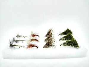 12 Barbless Gold Head Nymphs Set Fly Fishing Trout Grayling Flies Selection