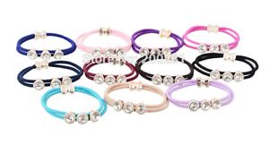 NEW-Beautiful-Triple-Crystal-Double-Hair-Tie-Band-11-Colours-UK-Seller