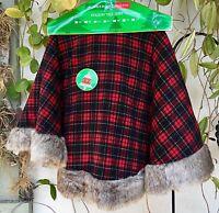 Amazing 52 Christmas Tree Skirt Kingsbury Home Red Plaid & Fur Trim