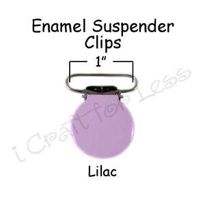 "200 Suspender Pacifier Holder Mitten Clips 1/"" Lilac Enamel Round Face"
