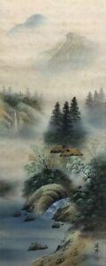 T0148 Japanese Hanging Scroll Kakejiku Landscape Silk Hand Paint Antique