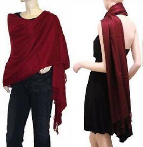 Etole écharpe châle scarf wrap 100 % pashmina 2 plis top qualité rouge bordeaux