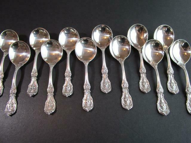 """Reed /& Barton Francis I Sterling 6/"""" Cream Soup Spoons Old Mark No Monogram"""