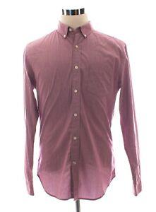 Banana-Republic-Grant-Fit-Dress-Shirt-In-Red-Micro-Stripe-Size-M-Medium
