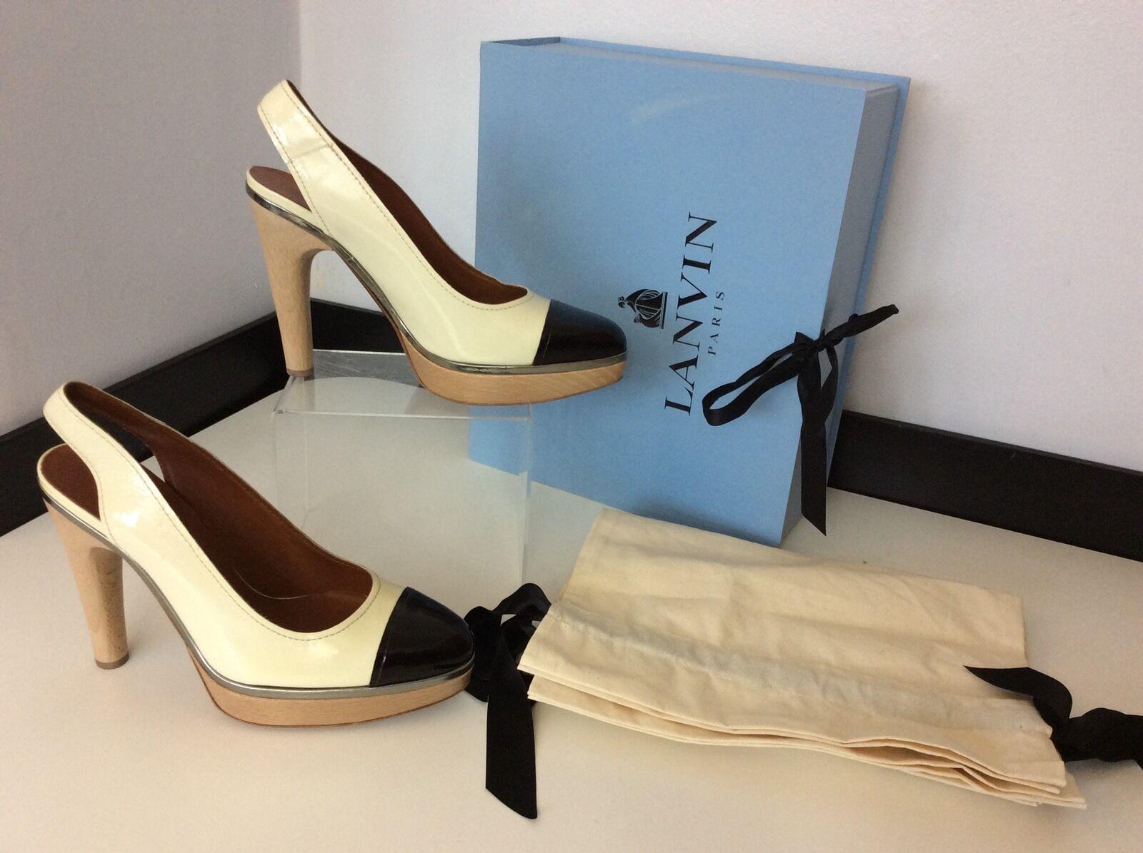 Lanvin crème noir cuir verni bride arrière chaussures talons taille 39 uk 6