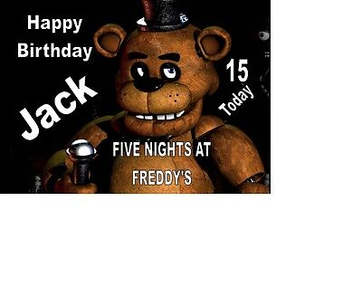 """PERSONALISED FIVE NIGHTS AT FREDDYS BIRTHDAY CAKE TOPPER A4 ICING SHEET 10/""""x8/"""""""