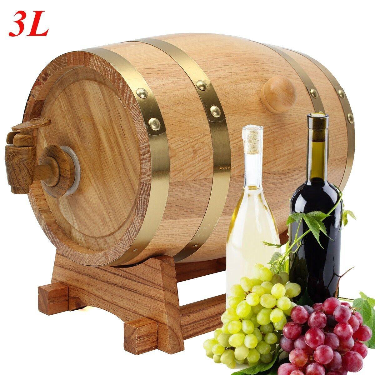 3L Wooden Oak Barrel Keg, Spigot for Whisky Wine Port Rum Liquor Home brew
