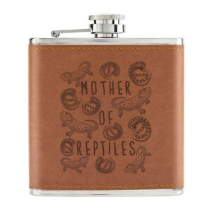 Mere-De-Reptiles-170ml-Cuir-PU-Hip-Flasque-Fauve-Crazy-Lady-Animal-Amant-Drole