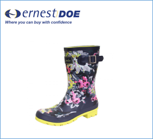 Joules Womens Molly Welly Mid Height Wellies French Navy Floral