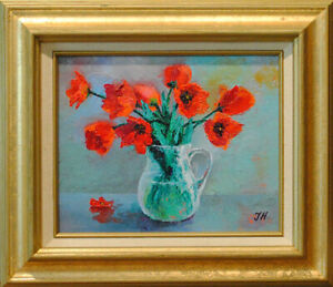 """Tulips. Original framed oil on canvas 8""""x10"""" painting from artist"""