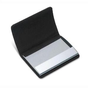 Solid-Men-Pocket-Business-Card-Holder-Black-Leather-Metal-ID-Credit-Case-Wallet