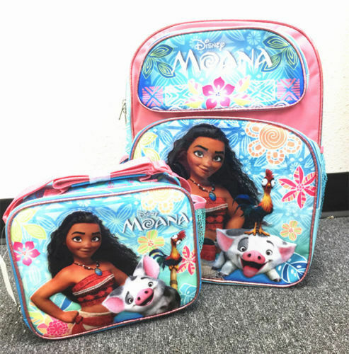 """Moana School Backpack Lunch /&Pencil Bag Set 16/"""" Grils Book Bag Insulated Box 2pc"""
