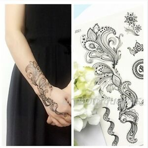 Black-Lace-Elephant-Dandelion-Henna-Tattoo-Temporary-Tattoo-Stickers-Body-Art