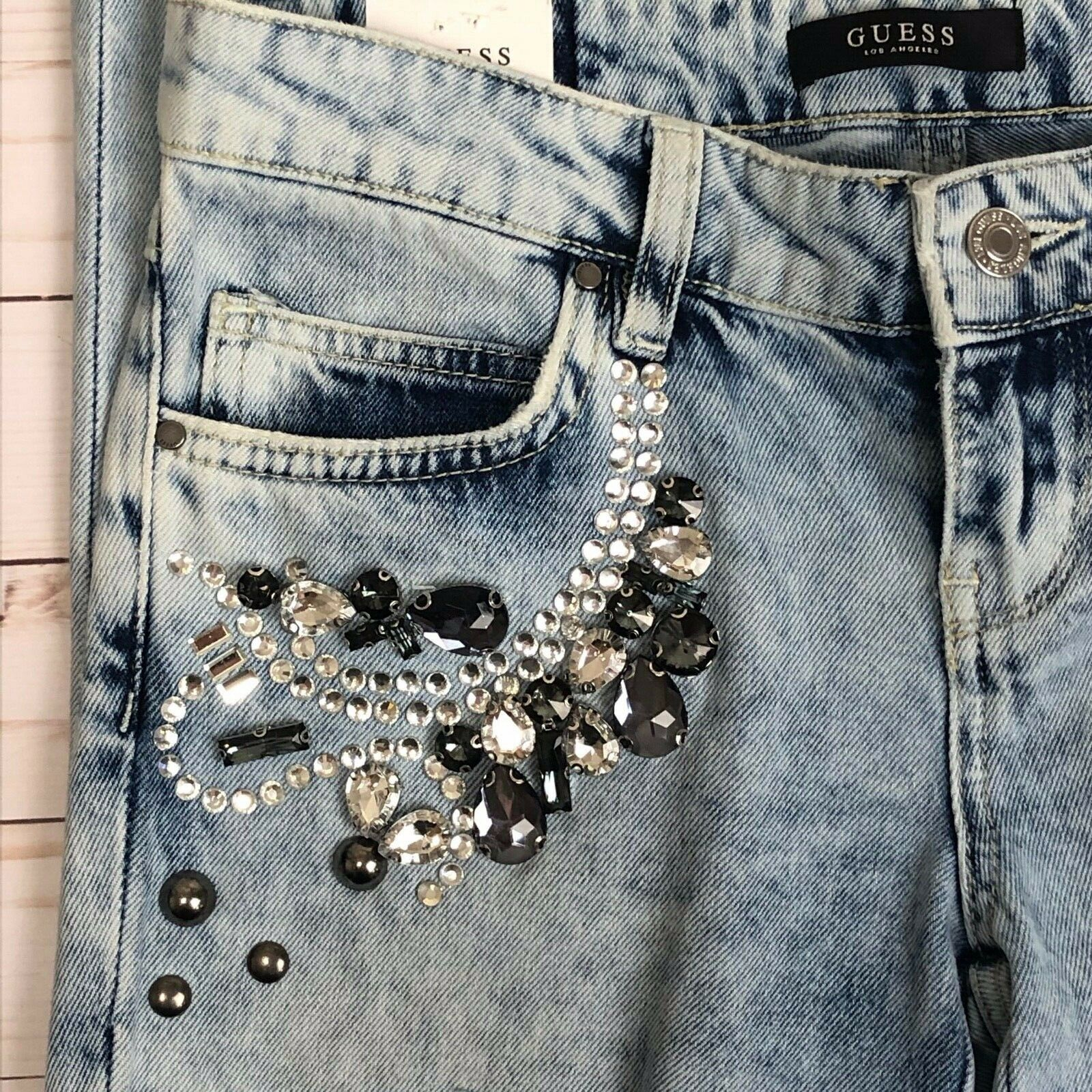 Details about NWT $128: Guess Marilyn 3 Zip Ripped Skinny Jeans wRhinestones in Fairy Bleach