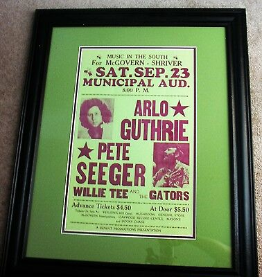 Pete Segeer & Arlo Guthrie McGovern Presidential Benefit Original 1972 Poster