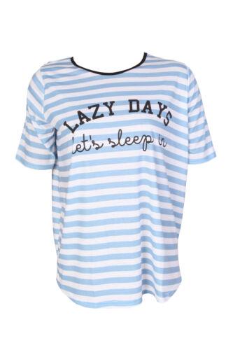 T3 New Uk Women Ladies Maternity Lazy Days Lets Sleep Slogan Stripe T-shirt Top