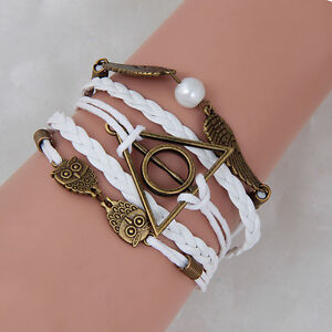Harry-Potter-Deathly-Hallows-Snitch-Owl-White-Synthetic-Leather-Bracelet-Hot2016