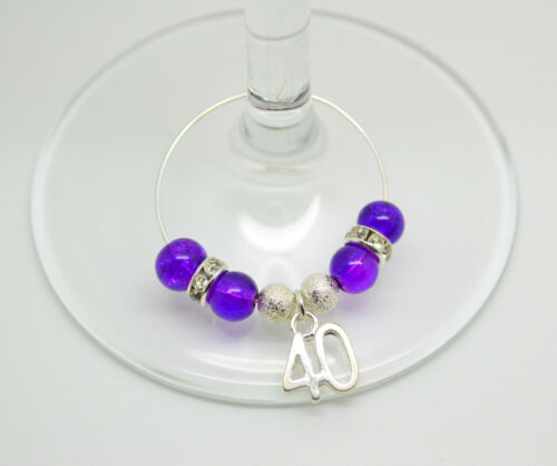 Happy Birthday Special Age Celebration Party Wine Glass Charms Lots Of Colours