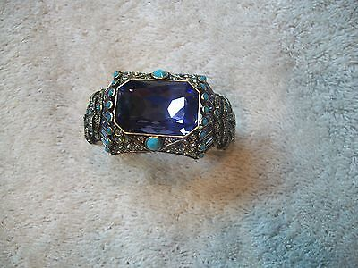HEIDI DAUS Bracelet MAGNIFICENT Hinged Cuff Tanzanite Turquois Swarovski Crystal