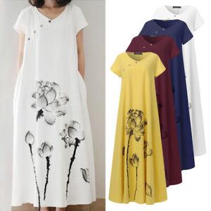 100-coton-Femme-Col-Rond-Manche-Courte-Imprime-Floral-Boutons-Robe-Dresse-Plus